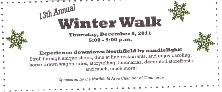 Winter Walk Thursday Dec. 8th 5-9 p.m.