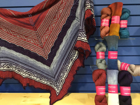 Laurel Mists shawl sample and kits on display at Northfield Yarn