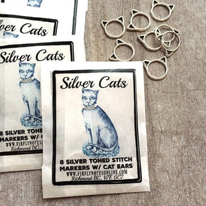 Silver Cat Stitch Markers