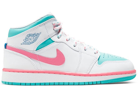Jordan 1 Mid White Pink Green Soar (GS)