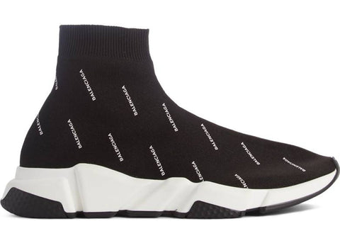Balenciaga Speed Trainer Logo Print Black White (W)