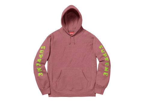 Supreme Gradient Sleeve Hooded Sweatshirt Dark Rose