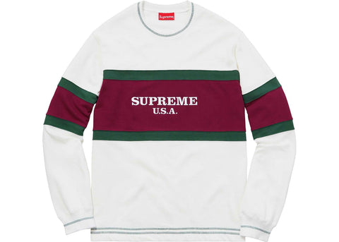 Supreme Center Strip Crewneck White