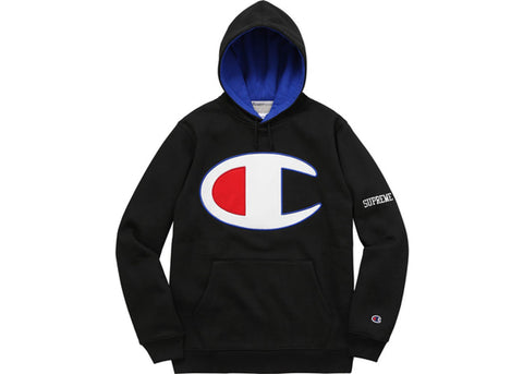 Supreme Champion Satin Logo Hoodie Black