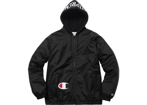 Supreme Champion Sherpa Lined Hooded Jacket Black