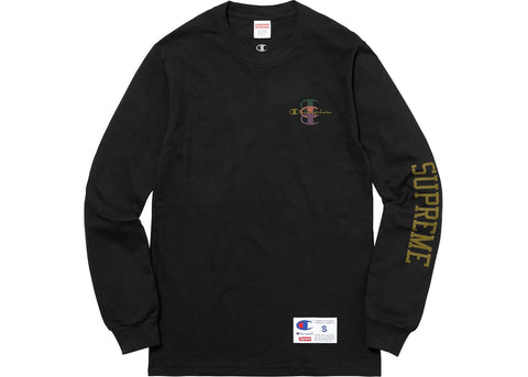 Supreme Champion Stacked C L/S Tee Black