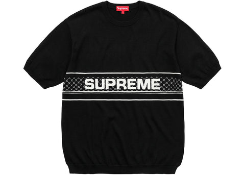 Supreme Chest Logo S/S Knit Top Black