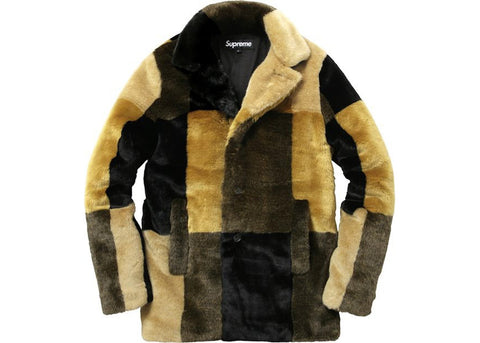 Supreme Faux Fur Coat Multicolor