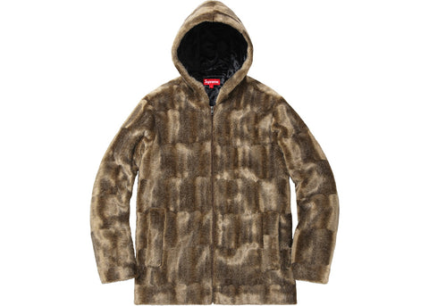 Supreme Faux Fur Hooded Zip Up Jacket Tan