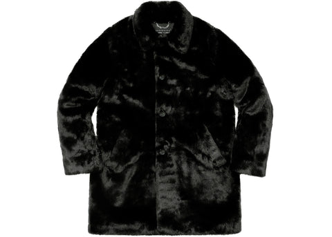 Supreme Hysteric Glamour Fuck You Faux Fur Coat Black