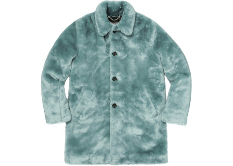 Supreme Hysteric Glamour Fuck You Faux Fur Coat Light Blue