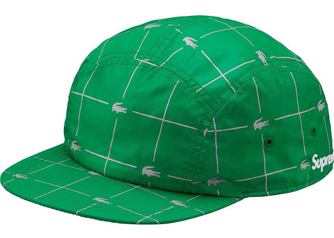 Supreme LACOSTE Reflective Grid Nylon Camp Cap Green