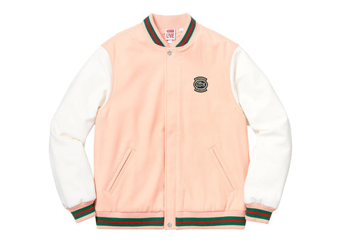 Supreme LACOSTE Wool Varsity Jacket Peach