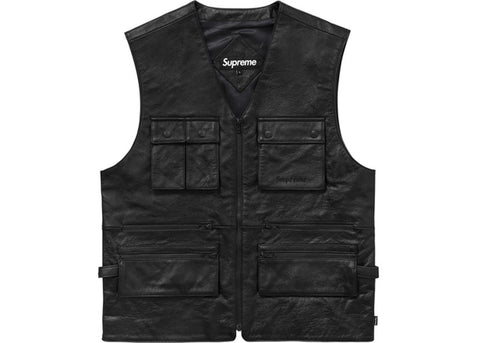 Supreme Leather Utility Vest Black