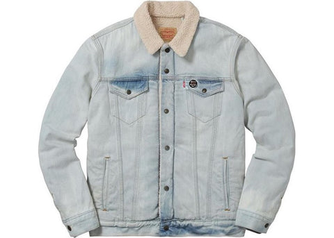 Supreme Levi's Bleached Sherpa Trucker Jacket Blue