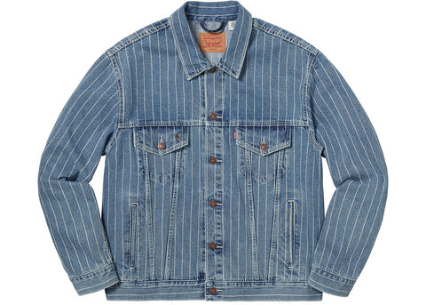 Supreme Levi's Pinstripe Trucker Jacket (With Pin) Blue Stripe