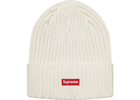 Supreme Overdyed Ribbed Beanie (SS18) Washed Ivory