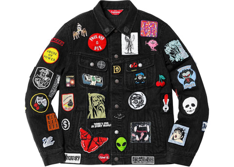 Supreme Patches Denim Trucker Jacket Black