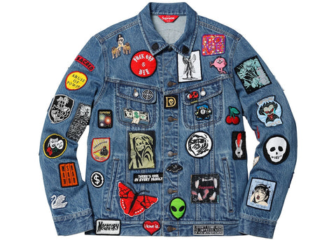 Supreme Patches Denim Trucker Jacket Blue