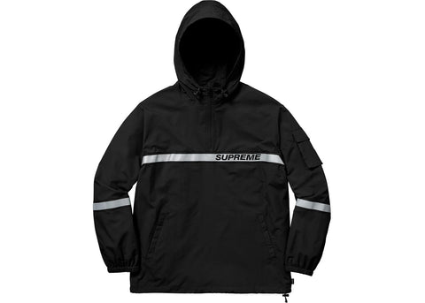 Supreme Reflective Taping Hooded Pullover Black