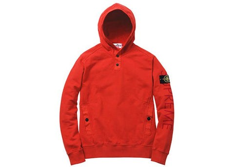 Supreme Stone Island Hooded Sweatshirt Red