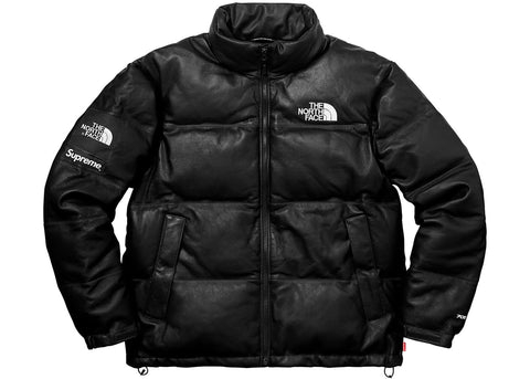 Supreme The North Face Leather Nuptse Jacket Black