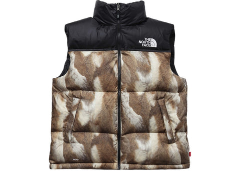 Supreme The North Face Fur Print Nuptse Brown