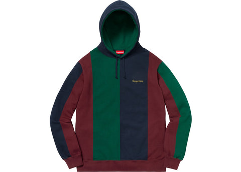 Supreme Tricolor Hooded Sweatshirt Burgundy