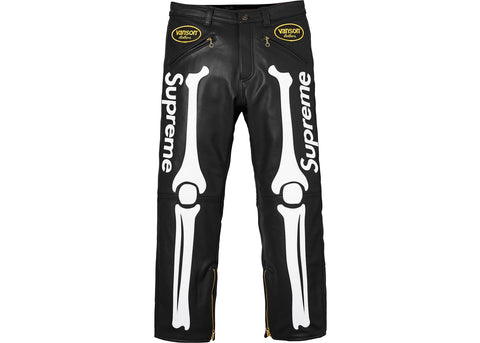 Supreme Vanson Leather Bones Pant Black