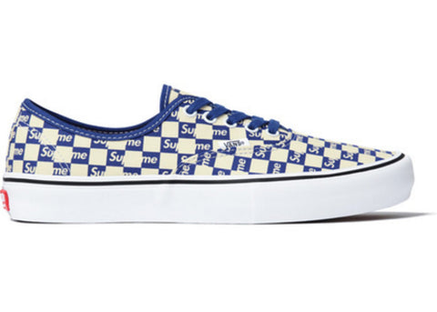 Vans Authentic Supreme Blue Checker Logo