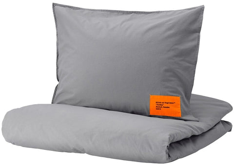 Virgil Abloh x IKEA MARKERAD Duvet Cover and Pillowcase (Full/Queen) Gray