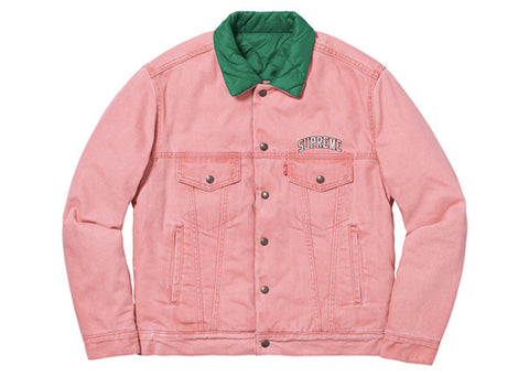 Supreme Levi's Quilted Reversible Trucker Jacket Pink