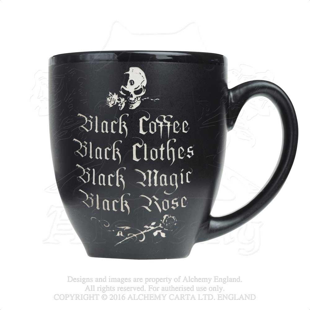 Alchemy Gothic Black Coffee, Black Rose, Engraved Ceramic Mug - Gothic Spirit