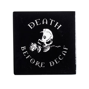 Alchemy Gothic Death Before Decaf Coaster from Gothic Spirit