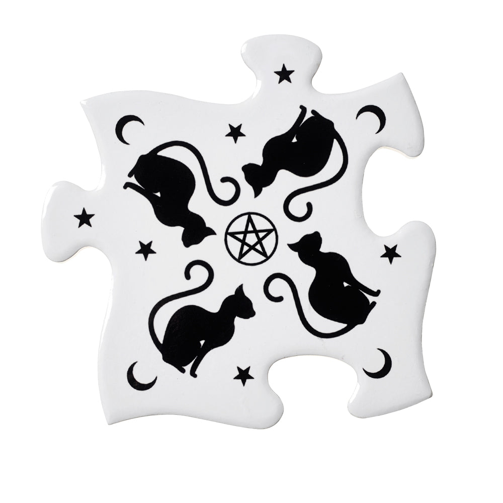 Alchemy Gothic Black Cats Jigsaw Coaster from Gothic Spirit
