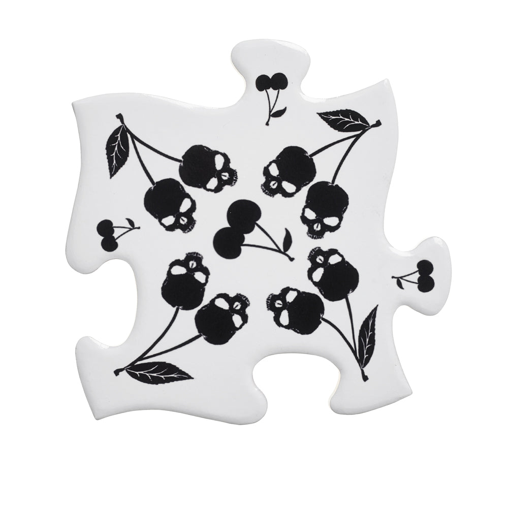 Alchemy Gothic Black Skull Cherries Jigsaw Coaster - Gothic Spirit