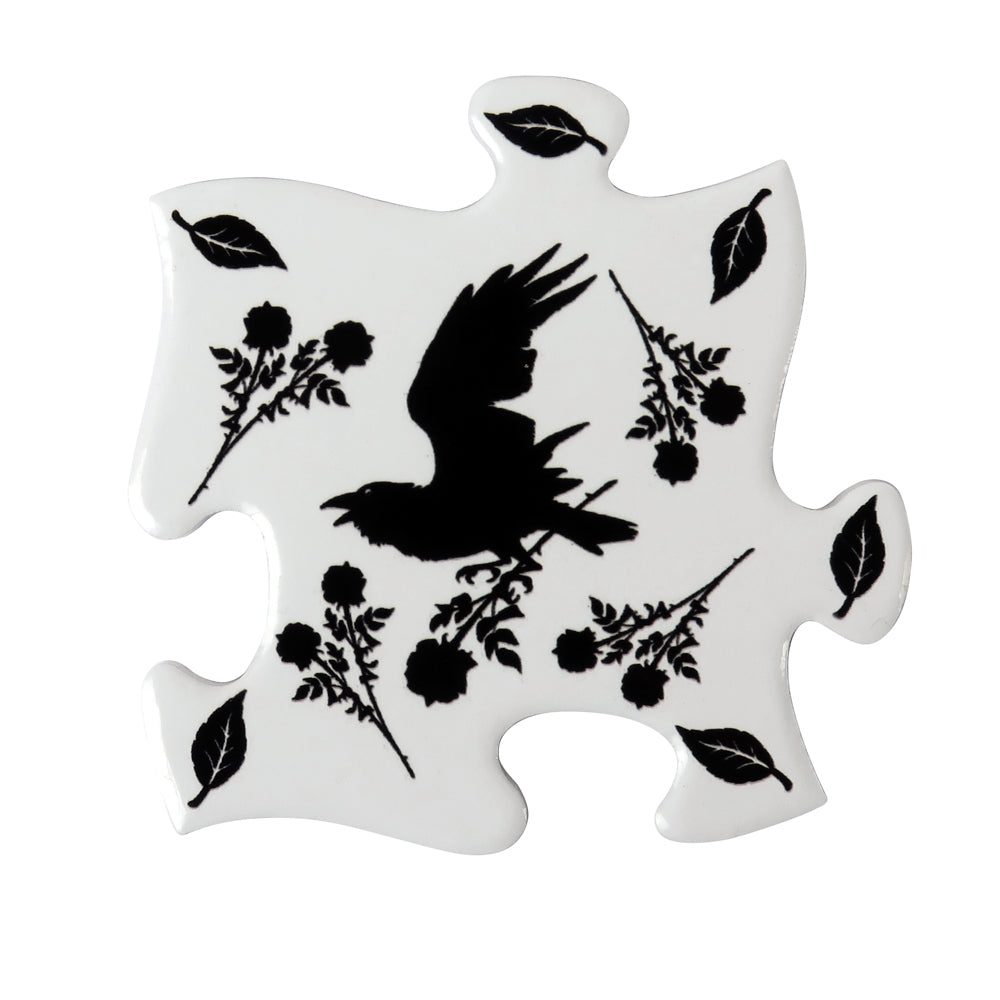 Alchemy Gothic Black Raven & Rose Jigsaw Coaster from Gothic Spirit