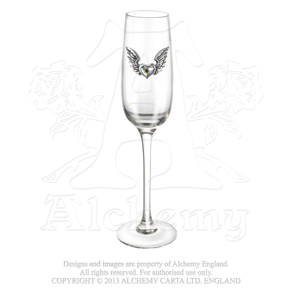 Alchemy Gothic Wings Of Love Champagne Glass - Gothic Spirit