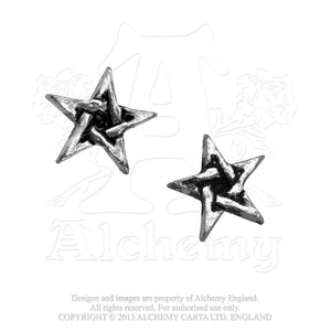 Alchemy Gothic Pentagram Pair of Earrings - Gothic Spirit
