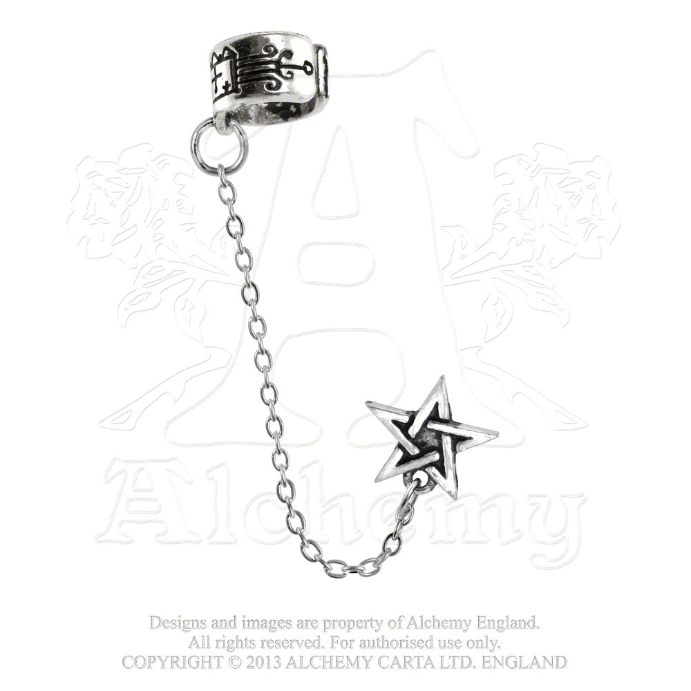 Alchemy Gothic Pentagram Single Earring - Gothic Spirit