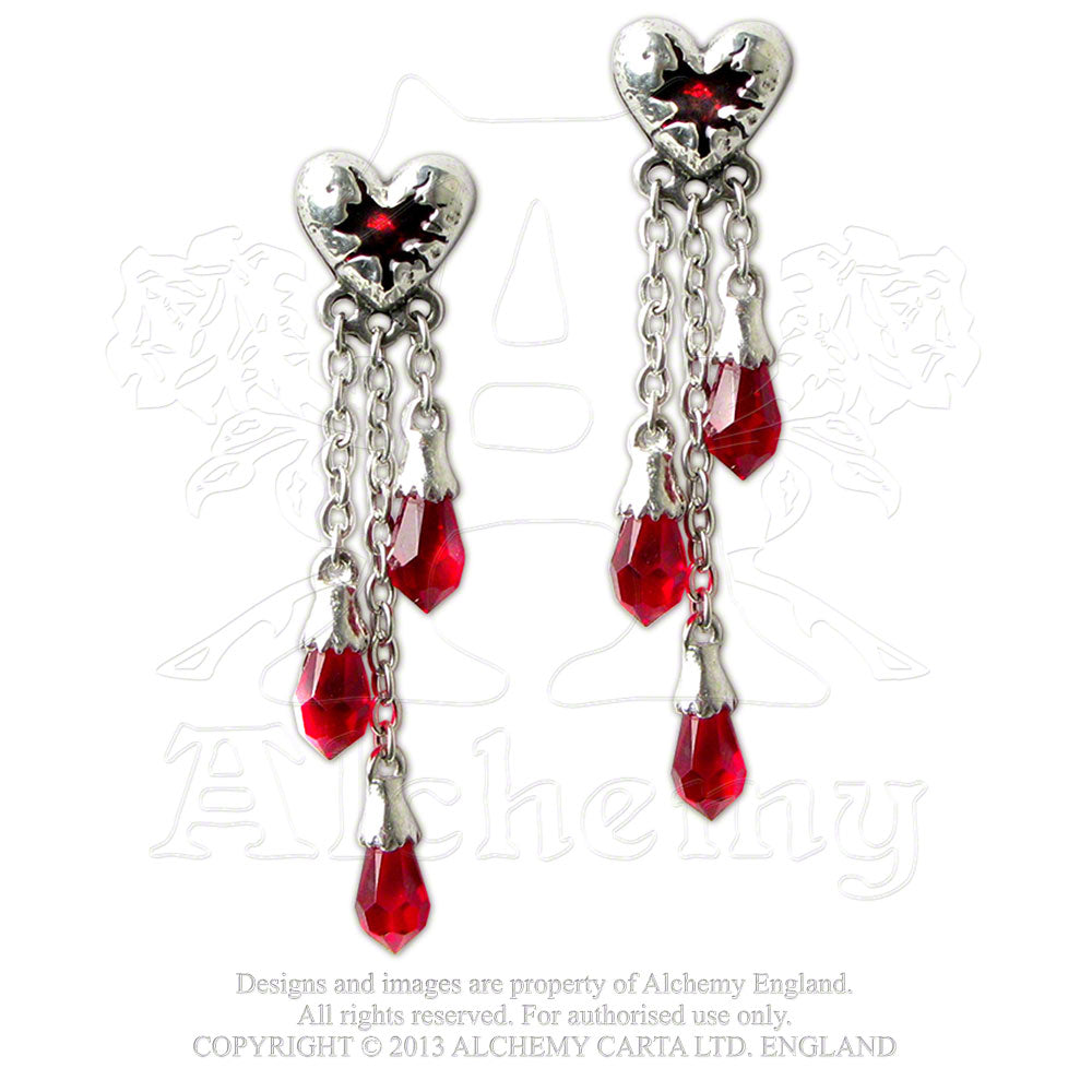 Alchemy Gothic Bleeding Heart Pair of Earrings from Gothic Spirit
