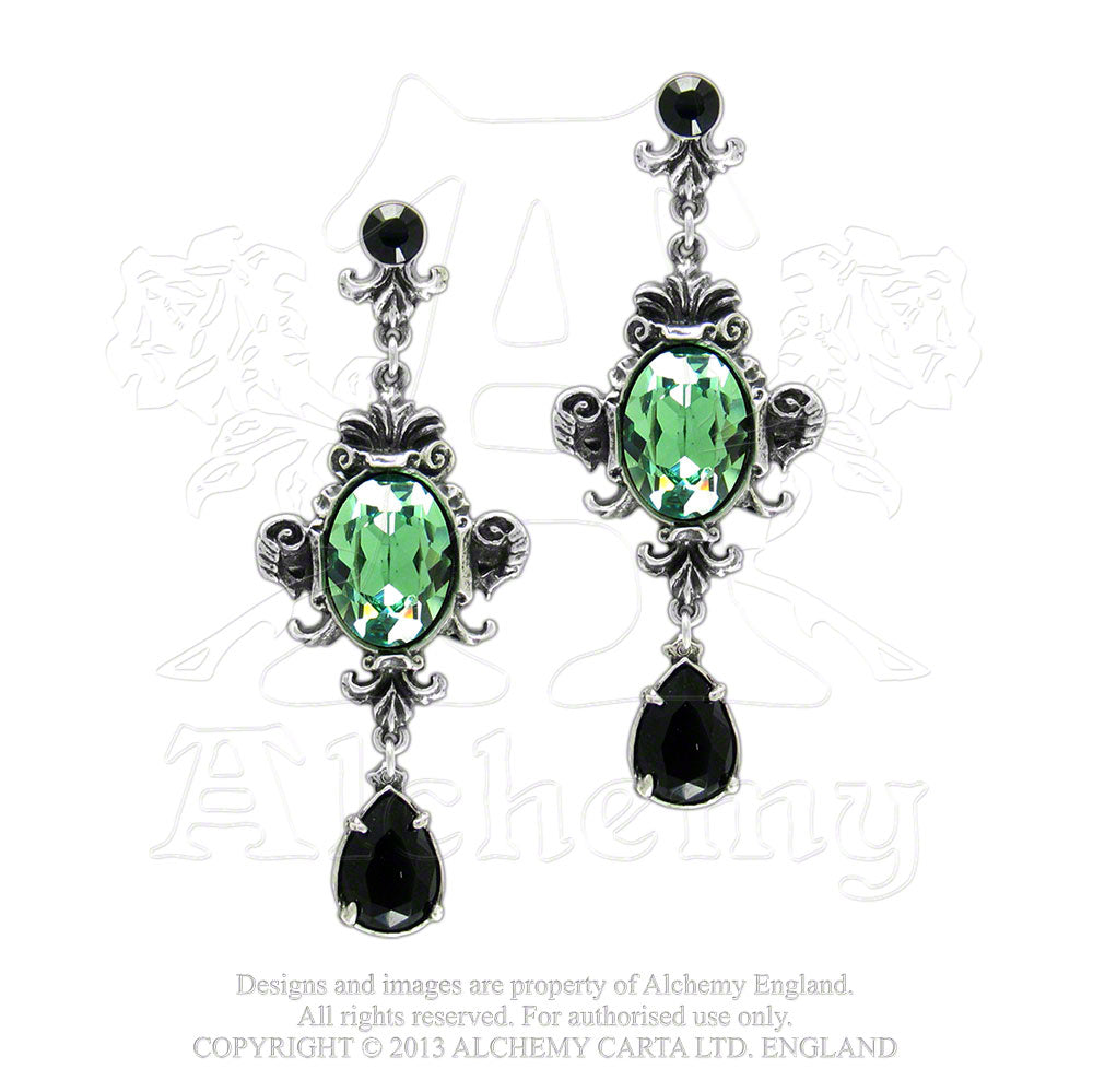 Alchemy Gothic Queen Of The Night Pair of Earrings - Gothic Spirit