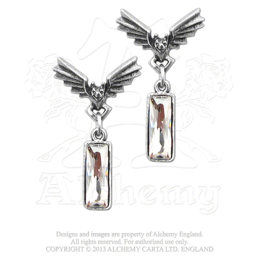 Alchemy Gothic Chrysler Bat Crystal Pair of Earrings - Gothic Spirit
