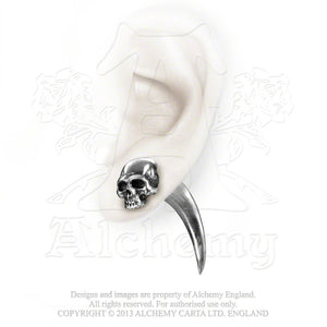Alchemy Gothic Tomb Skull Horn Faux Ear Stretcher Earring - Gothic Spirit