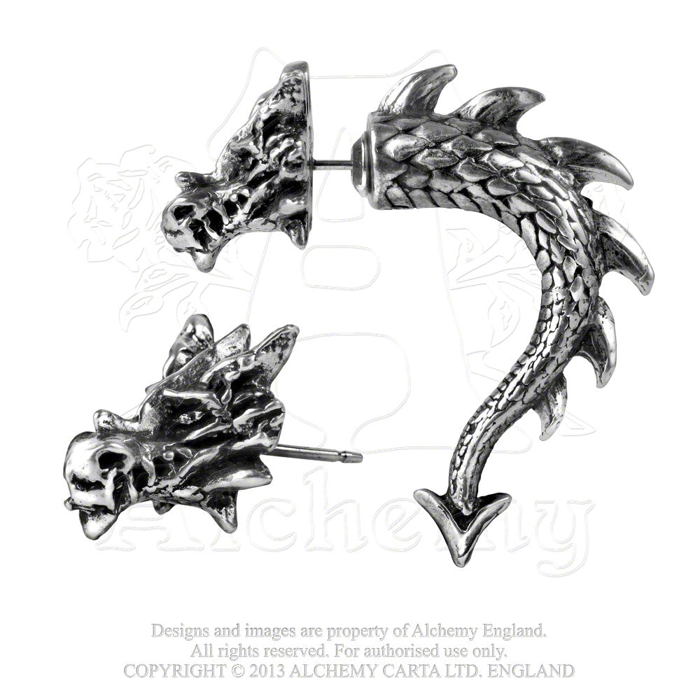 Alchemy Gothic Tor Dragon Faux Ear Stretcher Earring - Gothic Spirit