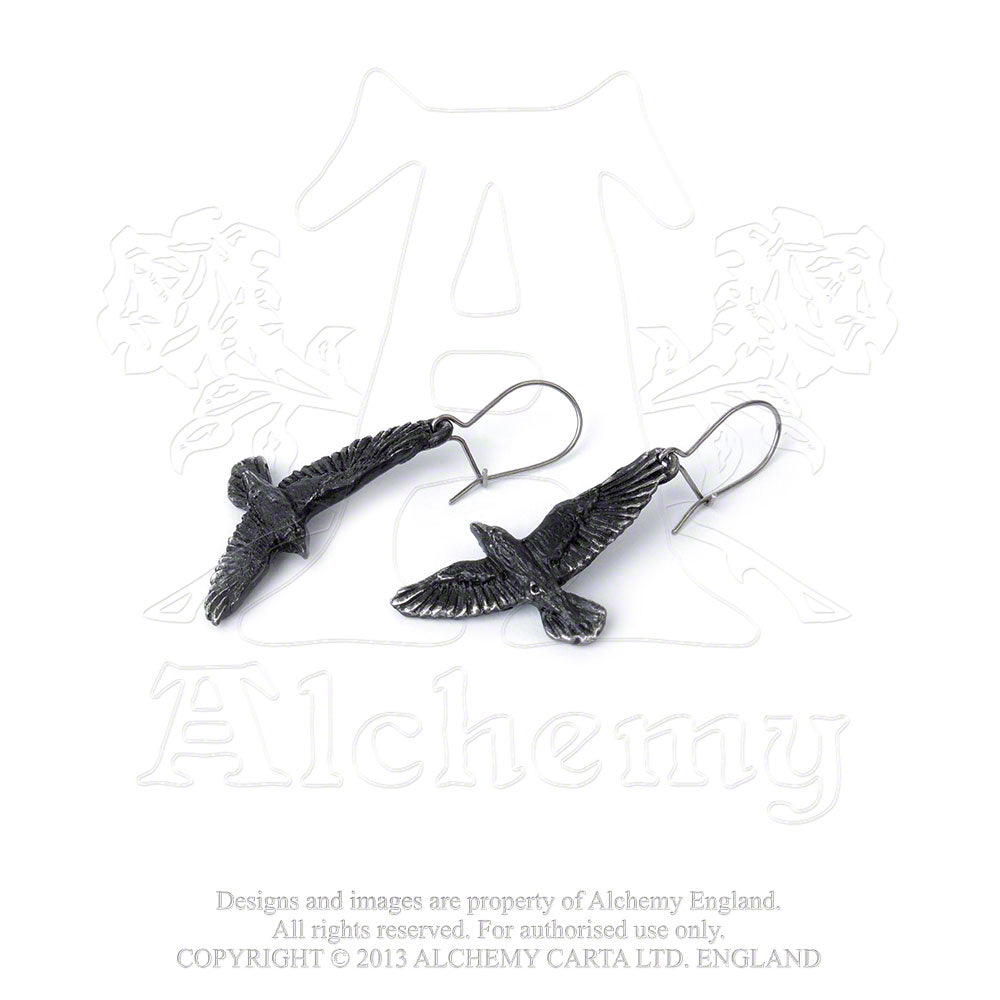 Alchemy Gothic Black Raven Pair of Earrings from Gothic Spirit