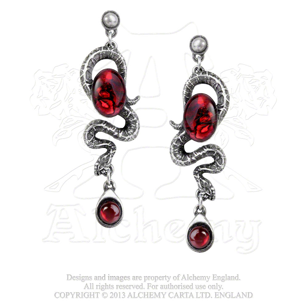 Alchemy Gothic Serpent's Eye Pair of Earrings - Gothic Spirit