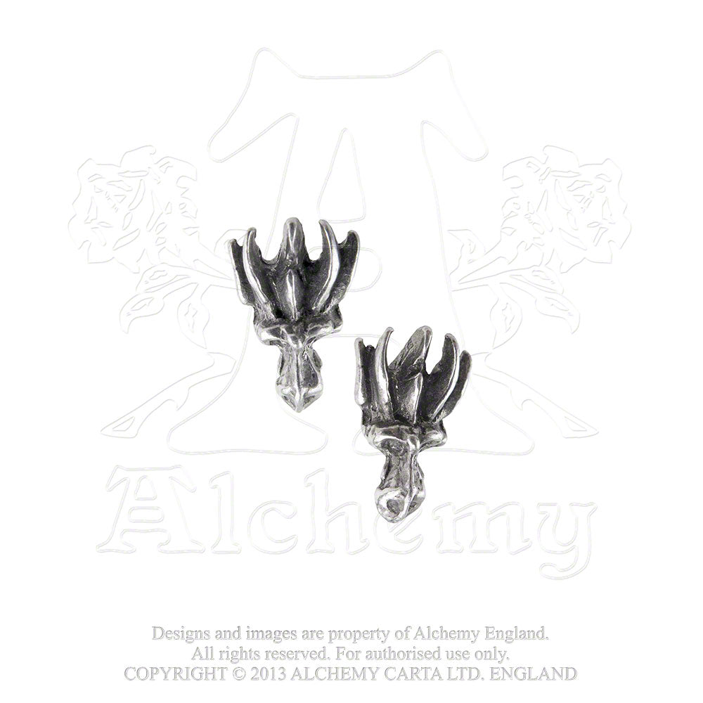 Alchemy Gothic Dragon's Lure Head Stud Pair of Earrings from Gothic Spirit
