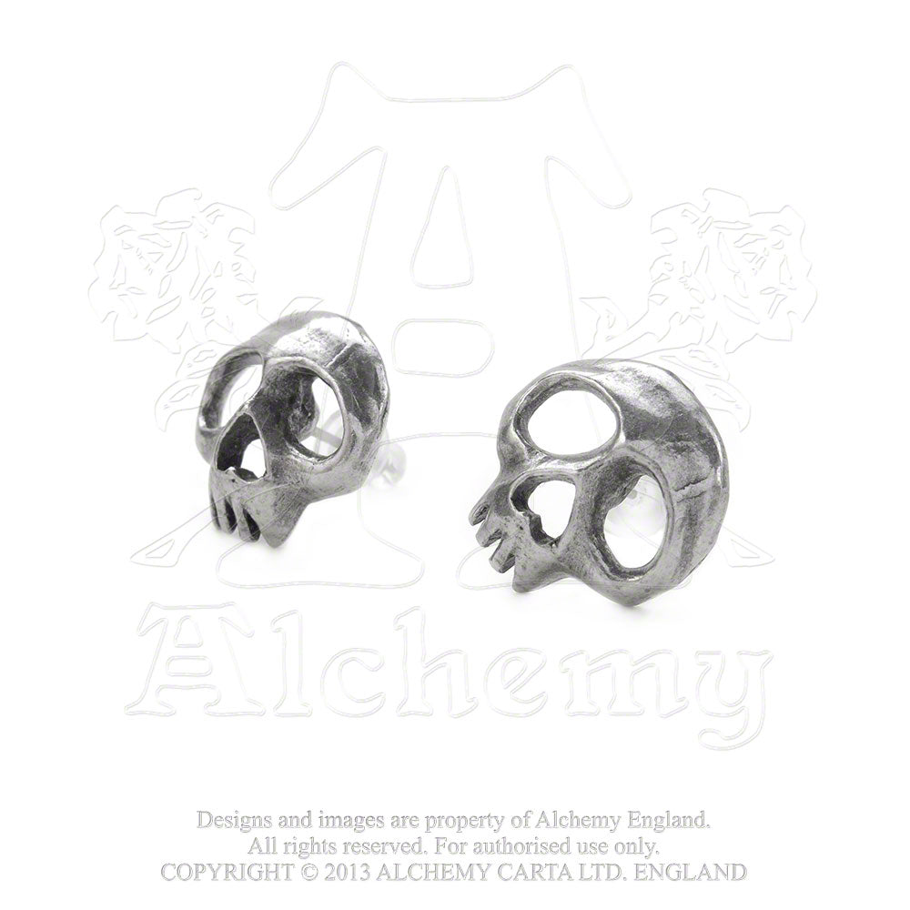 Alchemy Gothic Skully Pair of Earrings - Gothic Spirit