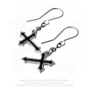Alchemy Gothic Sorrow Cross Pair of Earrings from Gothic Spirit